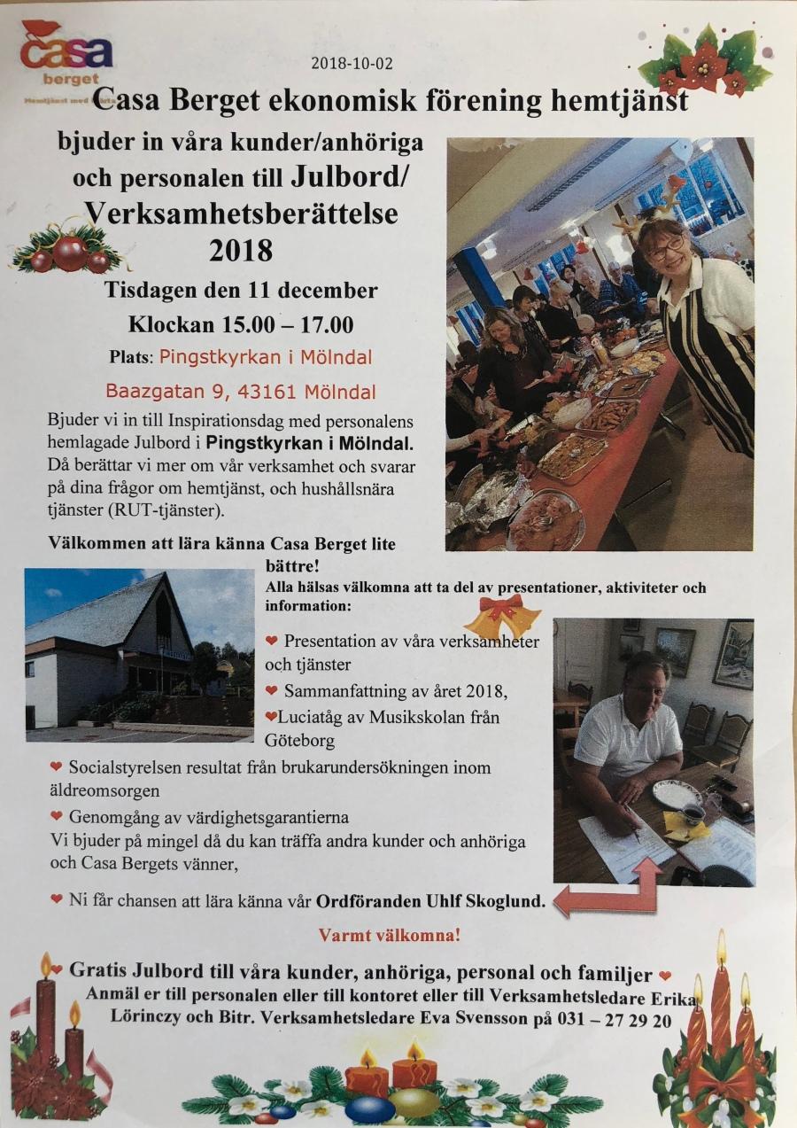 Inbudan till Julbord den 11 dec 2018