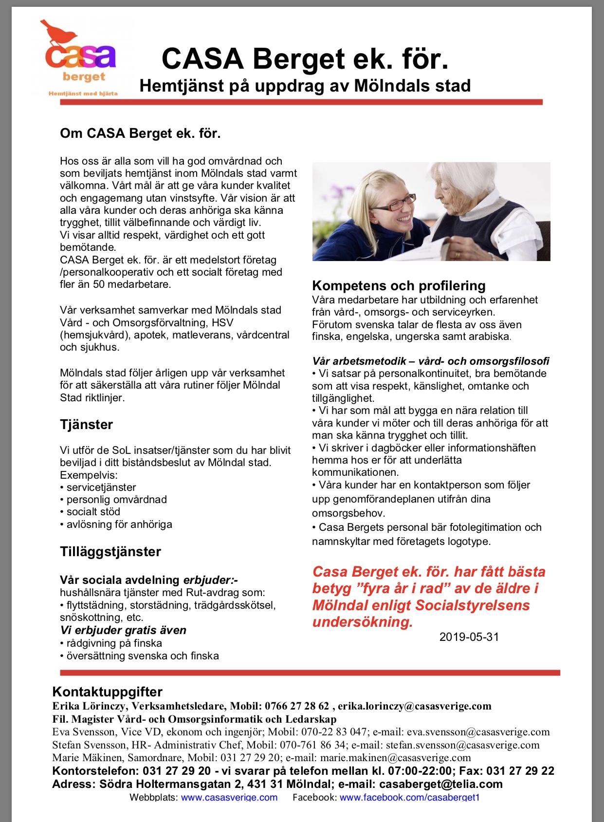 Hemtjänst presentation Casa Berget ek. för. 20190531