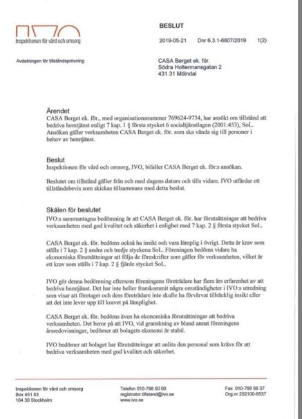 IVO beslut Casa Berget 2019 bild
